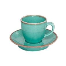 Купить Porland Seasons Turquoise Чашка кофейная 80 мл с блюдцем 120 мм в наборе