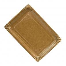 Купить Тарелка прямоугольная плоская крафт с ламинацией, 200 шт/уп, 120х170 мм