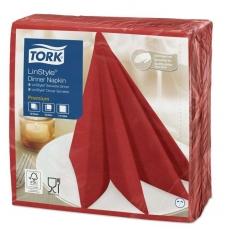 Купить Салфетка для ужина Tork Premium LinStyle красная, 390х390 мм, 50 шт/уп (12 шт/ящ)