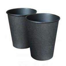 Купить Стакан однослойный 350 мл, черная ламинация внутри, 50 шт/уп (крышка 90 мм)