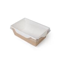 Купить Лоток крафт с прозрачной крышкой, 900 мл, 50 шт/уп, 170х135х45 мм
